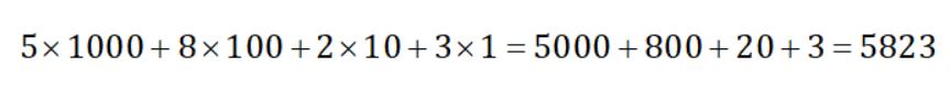 descomposición de numero de decimal